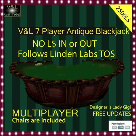 V&L 7 Player Antique Blackjack