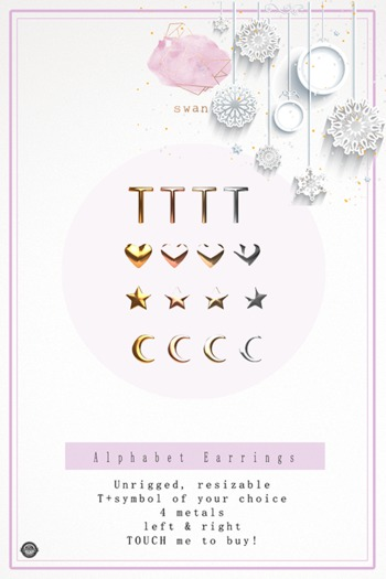 Swan Alphabet Earrings T