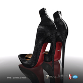 [Gos] Irina Pointed Zip Heels - Black