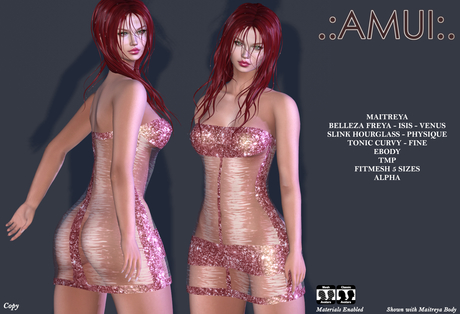 "PROMO ! .:AMUI:. ""Erin"" Dress - Red {Maitreya Belleza Slink}"
