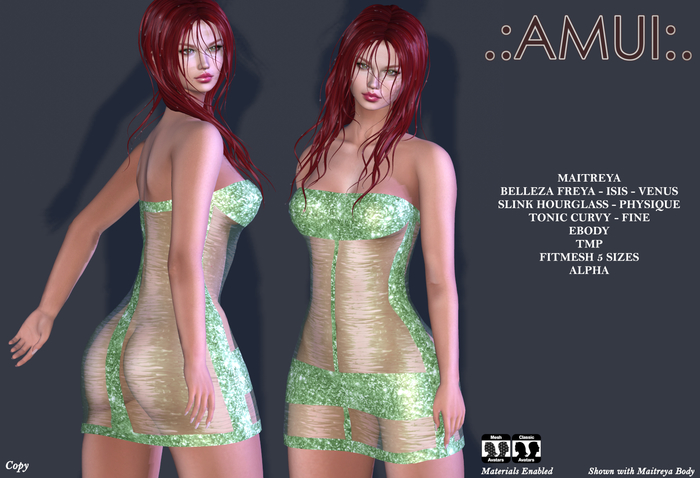 "PROMO ! .:AMUI:. ""Erin"" Dress - Green {Maitreya Belleza Slink}"
