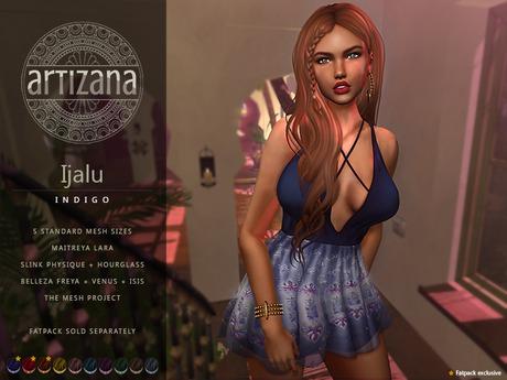 Artizana - Ijalu (Indigo) - Mesh Dress