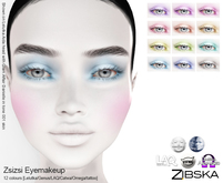 Zibska ~ Zsizsi Eyemakeup in 12 colors with Lelutka, Genus, LAQ, Catwa and Omega appliers and tattoo layers