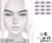 Zibska ~ Yuki Eyemakeup in 12 colors with Lelutka, Genus, LAQ, Catwa and Omega appliers and tattoo layers