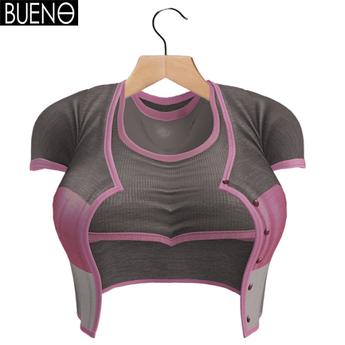 BUENO-Cardi Set-Striped Gray
