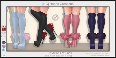 [HC] Isadora Knee Boots Fat Pack for Slink, Belleza, Maitreya, eBody, Signature & Tonic