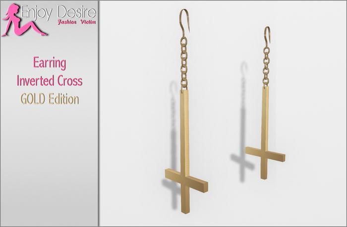 =ED= Earrings - Inverted gold cross
