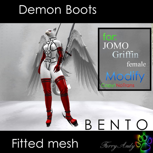 Second Life Marketplace Demo Furry Andy Demon Boots For Jomo Griffin Female