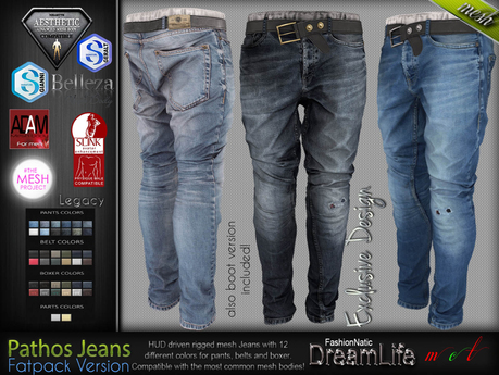 Pathos Male Mens Fatpack Denim Jeans Pants - Mesh - TMP, Adam, Slink, Aesthetic, Signature Gianni - Geralt, Belleza Jake