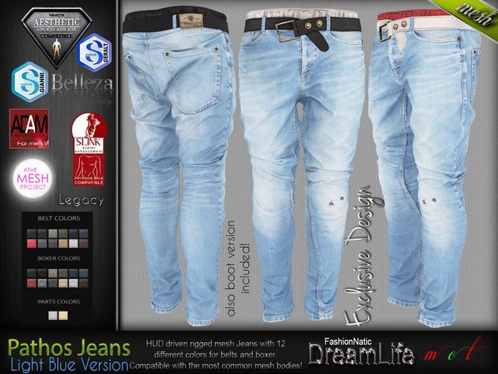 Pathos Male Mens Light Blue Denim Jeans Pants - Mesh - TMP,Adam,Slink,Aesthetic, Signature Gianni - Geralt, Belleza Jake