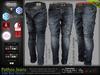 Pathos Male Mens Dark Blue Denim Jeans Pants- Mesh- TMP, Adam, Slink, Aesthetic, Signature Gianni -Geralt, Belleza Jake