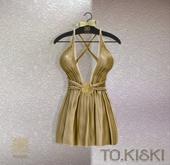 TO.KISKI - Kendra Mini Dress with Lace - Gold