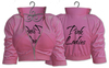Pink ladies jackets on hangers copy