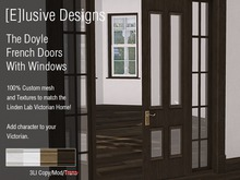 [E] Victorian Doyle French Doors Wiith Windows