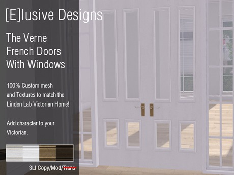 [E] Victorian Verne French Doors With Windows