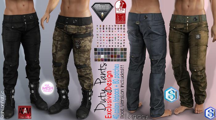 DUTY FATPACK Male Cargo Pants MESH - ADAM, AESTHETIC, SIGNATURE GIANNI - GERALT, SLINK, LEGACY, JAKE - FashionNatic