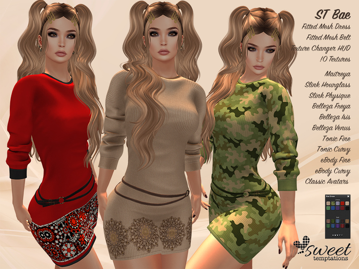 ST :: Bae Dress for Maitreya, Slink (P, H), Belleza ( V, I, F),  eBody (C, C),Tonic (F, C) . 10 Textures HUD