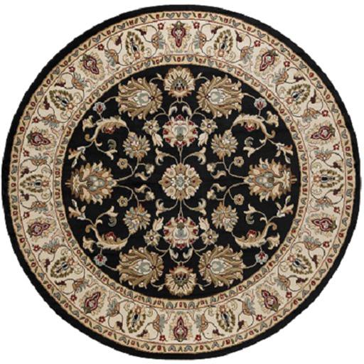 Round Black Floral Rug - 1 prim