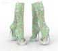 *** Harmonia Green Vintage Peep Toe Boots Maitreya Kupra Slink Belleza Legacy