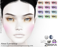 Zibska ~ Aileas Eyemakeup in 12 colors with Lelutka, Genus, LAQ, Catwa and Omega appliers and Universal Tattoo/BOM layer
