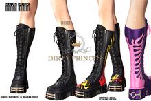 DIRTY PRINCESS- Rave Punk Princess Boots w/Hud 12 Colors