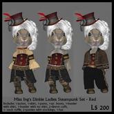 Miss Ing's Dinkie Ladies Steampunk Set Red