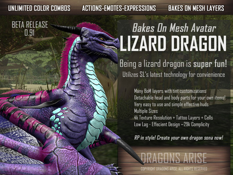 Lizard Dragon Avatar - Complete BoM Bento Avatar NEW 0.91a UPDATE [BETA]