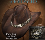 Worn Brown Lion CB Hat Stone's Works
