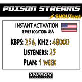 "SSC ""Shoutcast"" ""US"" (256, 48000, 25 Listeners) 7 Day(s)"