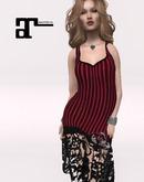 XK Maitreya Lace Flapper Dress Black Stripe