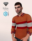 XK Striped Sweater w/ Collared Shirt Cranberry