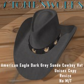 Amer Eagle Grey Suede CB Hat Stone's Works