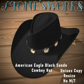 Amer Eagle Black Suede CB Hat Stone's Works