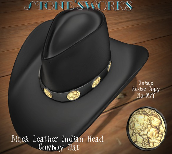 Black Leather Indian Head CB Hat Stone's Works