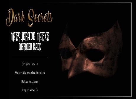 Dark Secrets - Masquerade Masks Corroded Black
