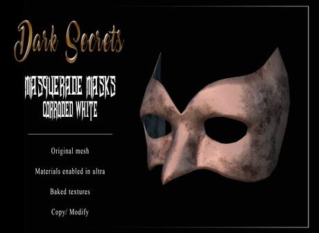 Dark Secrets - Masquerade Masks Corroded White Silver