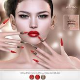 alme. Mesh Stiletto Nails - Fancy Glitter Red (boxed)