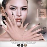 alme. Mesh Stiletto Nails - Fancy Glitter Black (boxed)