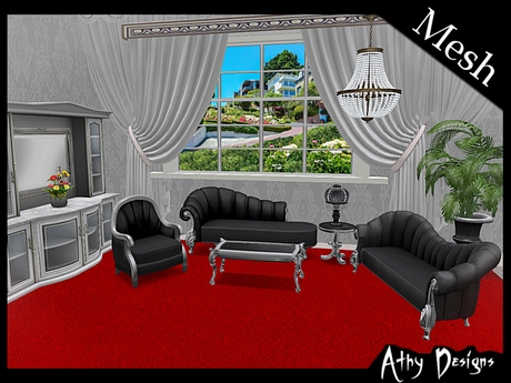 Second Life Marketplace Mesh Black Victorian Silver Living Room Furniture Antique Baroque Gothic