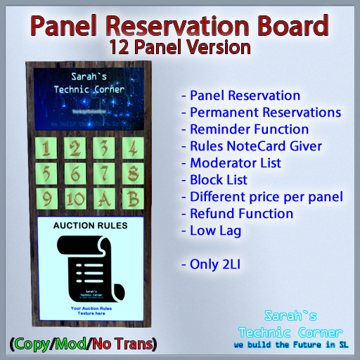 STC Panel Reservation Board (12 Slots) [Copy]