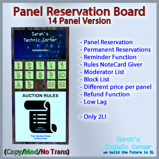 STC Panel Reservation Board (14 Slots) [Copy]