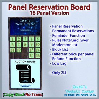 STC Panel Reservation Board (16 Slots) [Copy]