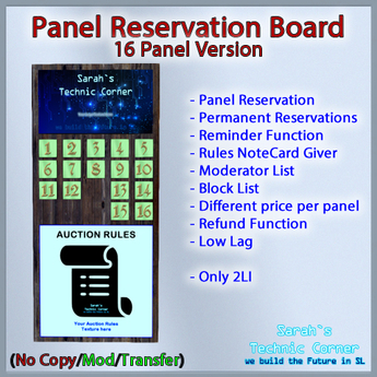 STC Panel Reservation Board (16 Slots) [Single,Trans]
