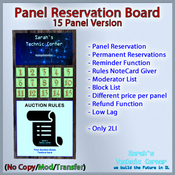 STC Panel Reservation Board (15 Slots) [Single,Trans]