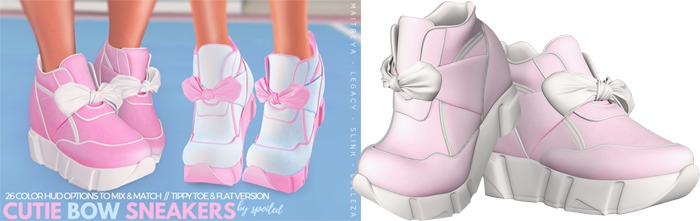 Spoiled - Cutie Bow Sneakers Flat & High Baby Pink