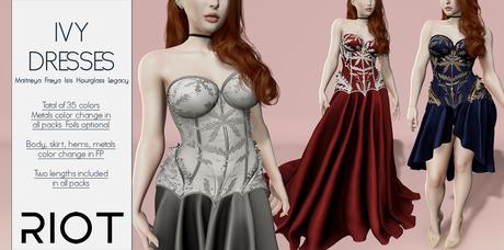 RIOT / Ivy Dresses - Fatpack | Maitreya / Belleza / Slink / Legacy