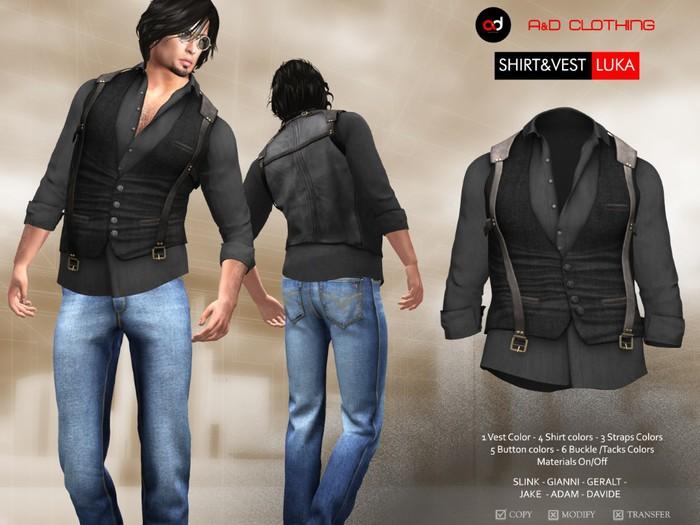 A&D Clothing - Shirt&Vest -Luka- Ebony