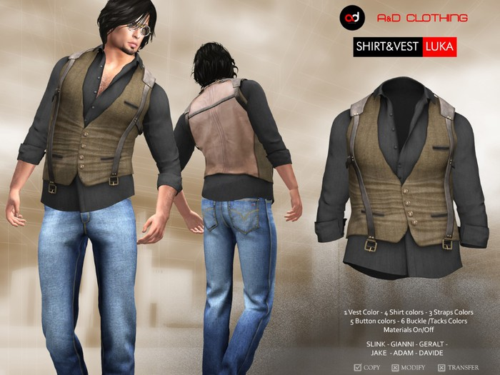 A&D Clothing - Shirt&Vest -Luka- Brown