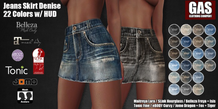 GAS [Jeans Skirt Denise - 22 Colors w/HUD FATPACK] Demo