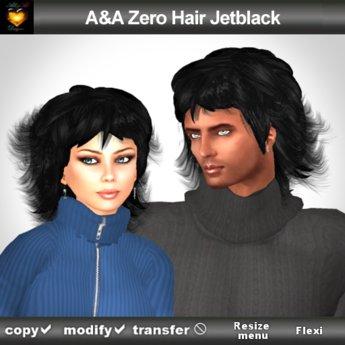 A&A Zero Hair Jetblack (short unisex hairstyle)